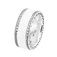 Original Silver World Heart Ring 100% 925 sterling silver jewelry,Soft whit Enamel & Clear CZ, Women Fine Jewelry