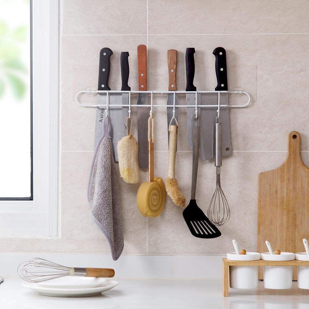 OTHERHOUSE Iron Kitchen Storage Shelf Rack Knife Block With Hooks Kitchen Utensils Organizer Towel Knife Holder Wall Mounted