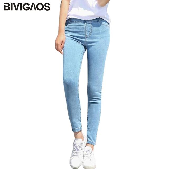 elegir despacho llegando comprar Aliexpress.com: Comprar Bivigeos primavera otoño mujer Simple básico Jeans  elástico Denim Pantalones lápiz Jean Leggings Pantalones Jeggings para ...