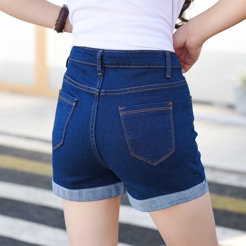 2019 High Waist Summer Button Denim Shorts Jeans For Women Pockets Short Pants Cotton Feminino Casual Jeans