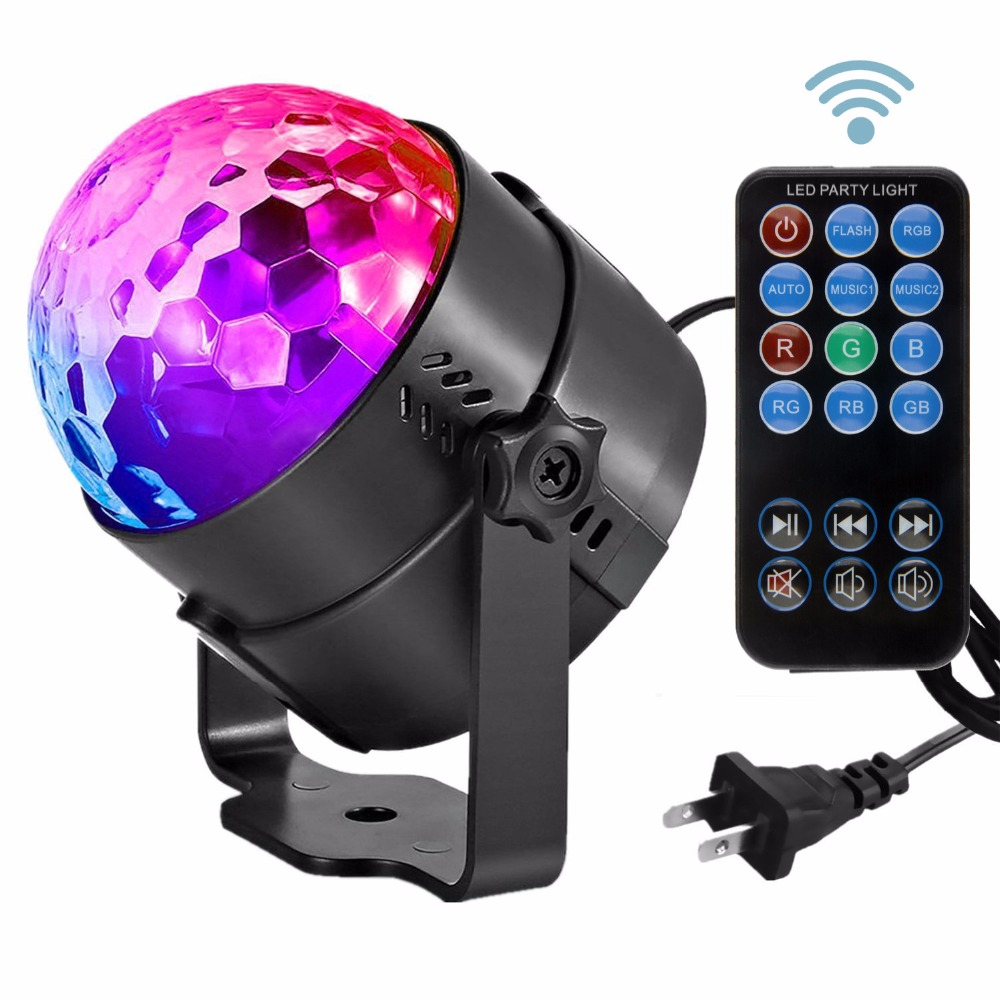 LED Crystal Magic Ball Disco Light Mini RGB Stage Lighting Effect Lamp US/EU Plug Bulb Party Disco Club DJ Light Show Lumiere mini rgb led stage light 3w remote controls light disco ball lights led party lamp show stage lighting effect usb powered dv 5v