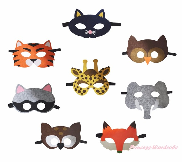 Halloween School Party Cat Tiger Fox Animal Face Eye Mask Kids ...