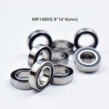 цена на MR148RS 8*14*4(mm) 10pieces free shipping bearing ABEC-5 bearing rubber Sealed Miniature Mini Bearing MR148 MR148RS bearings