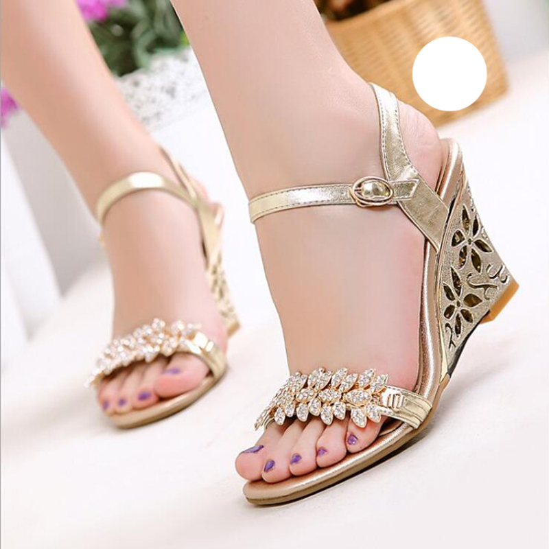 Special Price Summer Sandals Rhinestone Wedge Heel Summer Dress Shoes Wholesale Price Mom Shoes Size 33-43 Honeymoon Pumps