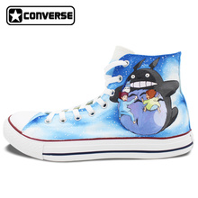 Men Women Converse All Star Custom Anime Shoes Howl's Moving Castle Totoro Design Hand Painted Shoes High Top Canvas Sneakers
