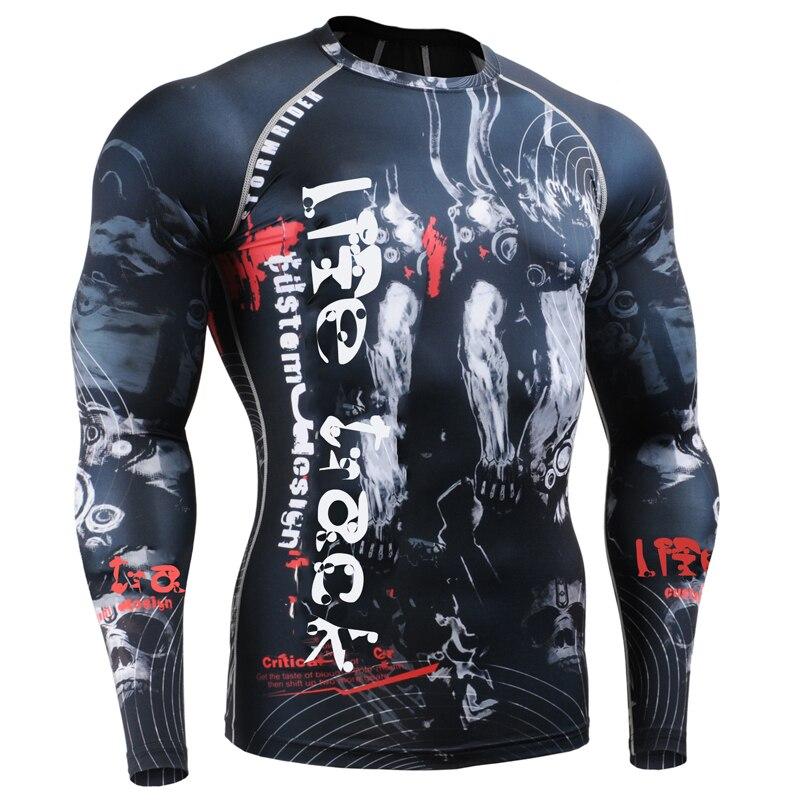 Pieno Stampe Uomo Compressione Stretto T Shirt per L'esecuzione di Formazione MMA GYM Accise & Fitness Maniche Lunghe Top Camicia Crossfit - 6