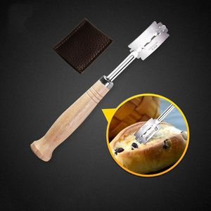 Image 5 - Specialty Bread Arc Curved Knife Wood Handle 5Pcs Replacement Blades Western Baguette Cutting French Toast Bagel Cutter