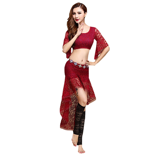4fd907086683 2018 Women Belly Dance Clothing Sexy Dancewear Spandex Suit for Practice  Lace Outfit for Bellydance Costume Top and Skirt 2pcs