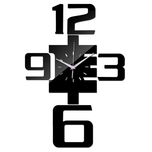 2017 new real wall clock watch clocks horloge reloj de pared large decorative quartz living room modern acrylic 3d mirror Needle