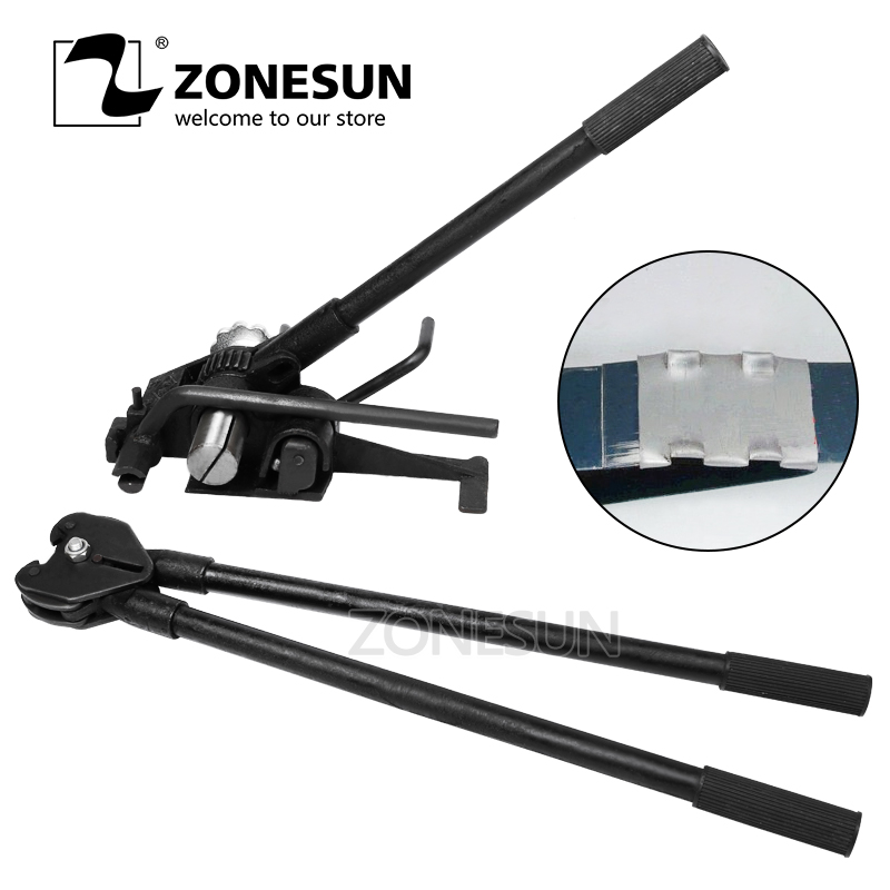 ZONESUN HM-98 Strapping Packing Machine Heavy Duty Manual Steel Strip Strapping Tools Steel Sealers For 32mm Steel Strip