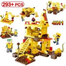 293 pcs Meu Mundo Versão Dourada Dragão Modelo Compatível Legoinglys  Figuras Altar Explorar Montar Blocos de Construção de Brinq. e805a7c94be83
