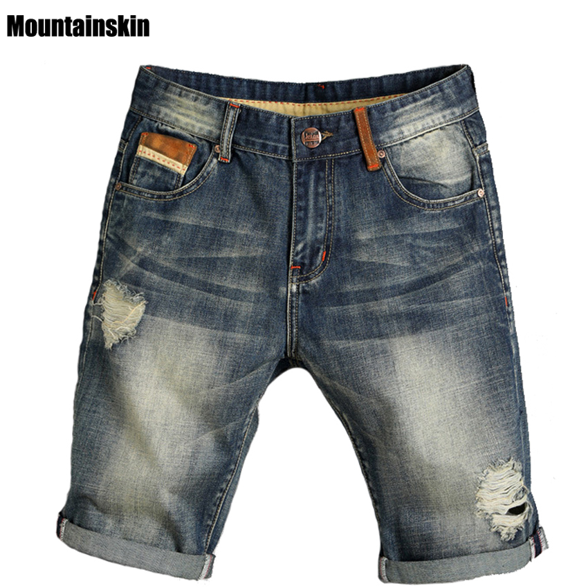 Mountainskin Summer New Men's Hole Jeans Thin Pop Street-wear Male Jeans Slim Mid Denim Shorts Solid Fashion Brand Jeans,SA166