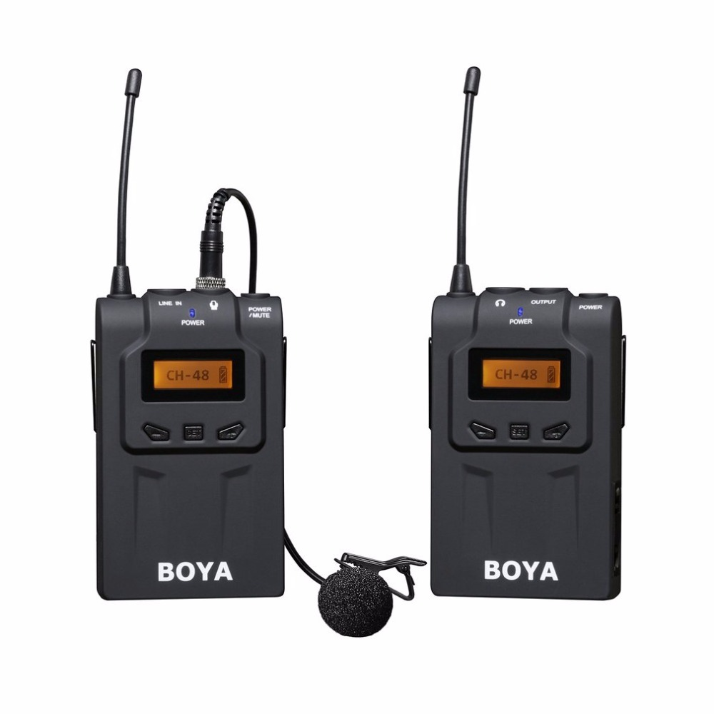BOYA BY WM6 Professional Wireless Microphone System 48 Channel Omni directional Lavalier Microphone For DSLR Camcorders