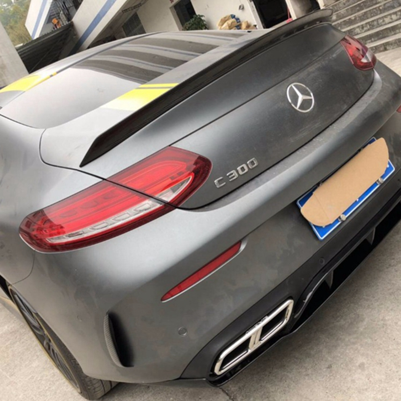 For <font><b>Mercedes</b></font> C Class W205 Spoiler Carbon Fiber Rear Trunk Spoiler wing C200 C250 <font><b>C300</b></font> C180 C350 <font><b>Coupe</b></font> 2 Door Car 2014 - UP image