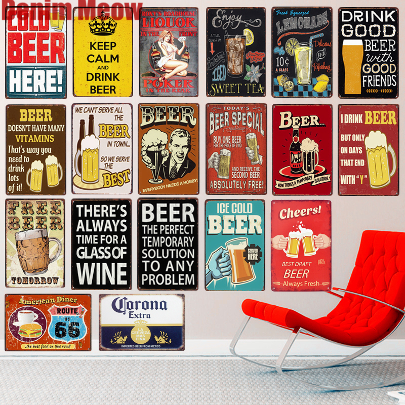 COLD BEER HERE  Plaque Vintage Metal Tin Signs Home Bar Pub Decorative Plates Summer Theme Wall Stickers Art Poster N209
