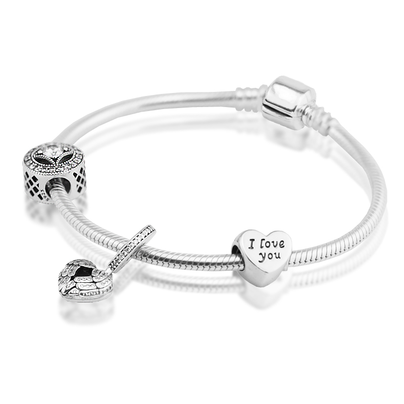 Bracelet Love Beads and Dangle Charms 100% 925 Sterling Silver Bridal Set Jewelry for Women Gift DIY Fine Jewelry PSR002 tdiyj gift box love heart dangle to mom new collection charms diy stainless steel mesh silver bracelet for mother s day 1set