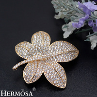 HERMOSA JEWELRY Exquisite Zircon Lucky Leaf Design Brooch For Women Yellow Gold Pins Brooches Shiny Party Gift Wedding Jewellery