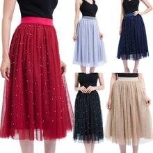 Elegante mujeres verano alta cintura Flare plisada Long Beach faldas Tulle  Casual señora Lace falda perla 7218e725d564