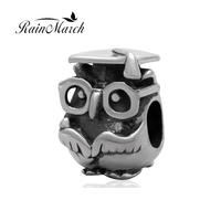 Glasses Owl Beads Wholesale Authentic 925 Sterling Silver Charm Jewelry Fits For Pandora Bracelets Free Shipping