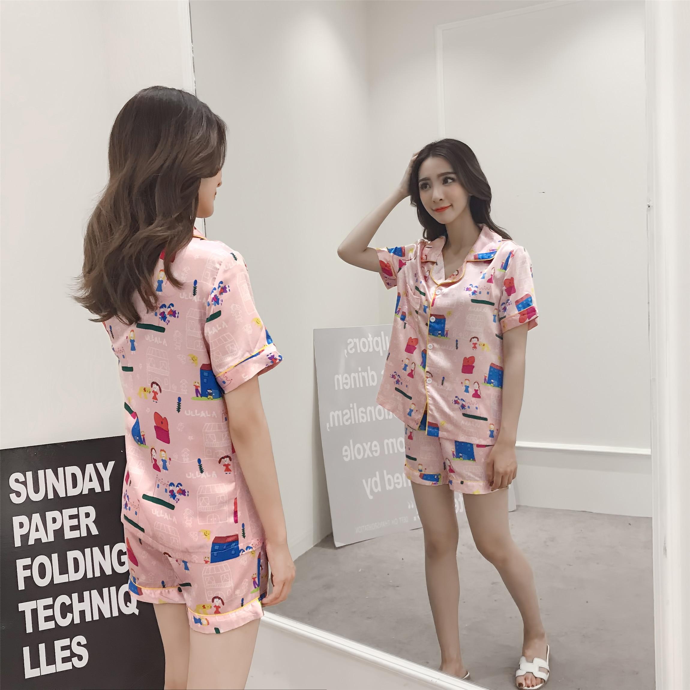 Women Short Sleeve Silk Pajamas 2 Piece Suit Set Girl Summer Cartoon Playful Cute Sweet Home Night Sleep Wear Pink Pyjamas Set