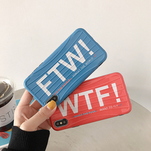 все цены на LISM Casing For iPhone 6 6S 7 8 Plus X XR XS Max WTF&FTW Quotes Trunk Soft IMD Phone Case Cover Anti-knock Protector онлайн