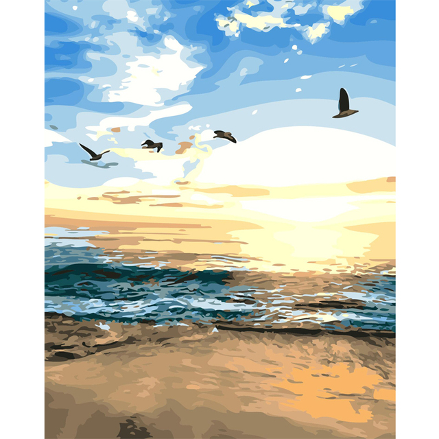 Diy Digital Painting By Numbers Picture Of Beach Sunset Acrylic ...