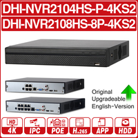 DH NVR2104HS P 4KS2 NVR2108HS 8P 4KS2 4CH 8CH POE NVR 4K Recorder Support HDD 4/8CH POE For CCTV System Security Kit.