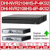 DH NVR2104HS-P-4KS2 NVR2108HS-8P-4KS2 4CH 8CH POE NVR 4K Recorder Support HDD 4/8CH POE For CCTV System Security Kit.