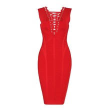 2016 Women's Newest Slveeless Cross Lacing Party Styles Knee Length Sexy Rayon Bodycon open back Bandage Dress  hl  AA-707