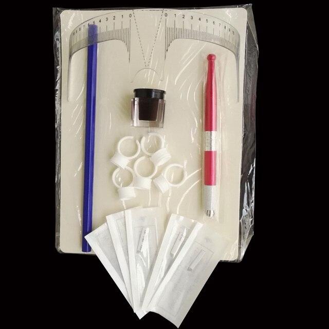 Microblading Перманентный Макияж Бровей Татуировки Вышивка Ручной Ручка + Чернила, Клей Кольцо + Пигмент + 12 Иглы Kit Набор