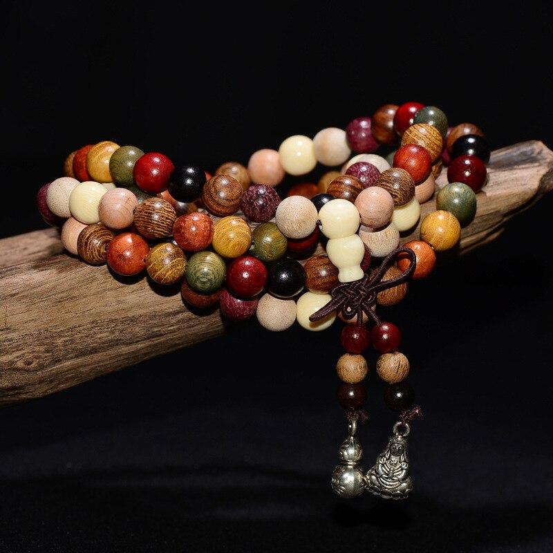 Cindiry 108 6mm 8mm Variety of Sandalwood Tibetan Buddhist Prayer Beads Bracelets Buddha Mala Rosary Wooden