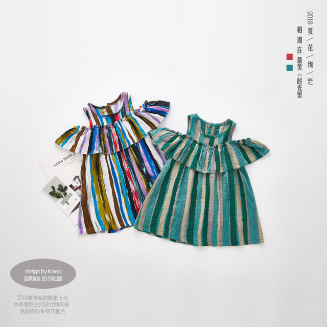 Girls Off Shoulder Dress 2018 Summer Style Striped Dress with Ruffles Girls Fashion Cotton Colorful Beach Dress Girls Clothes