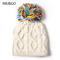 Women Winter Stretchable Cable Knit Special Pattern Cap With Multicolor Pompom Ball Skullies Beanies Hat One