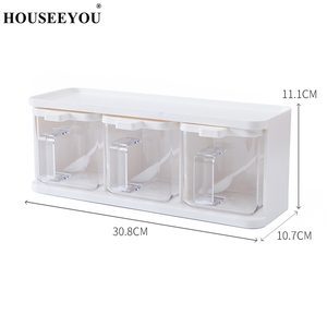 Image 5 - Spice Rack 3 Grids Spoon Kitchen With Lid Container Seasoning Box Herb Spices Storage Condiment Jar Cooking With Handle Desktop