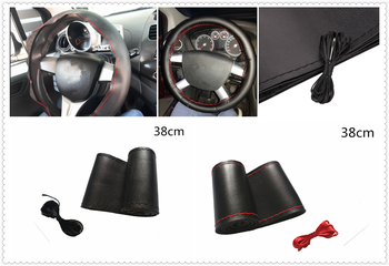 Car steering wheel cover DIY size 38 cm fiber leather hand-sewn for BMW all series 1 2 3 4 5 6 7 X E F-series E46 E90 image