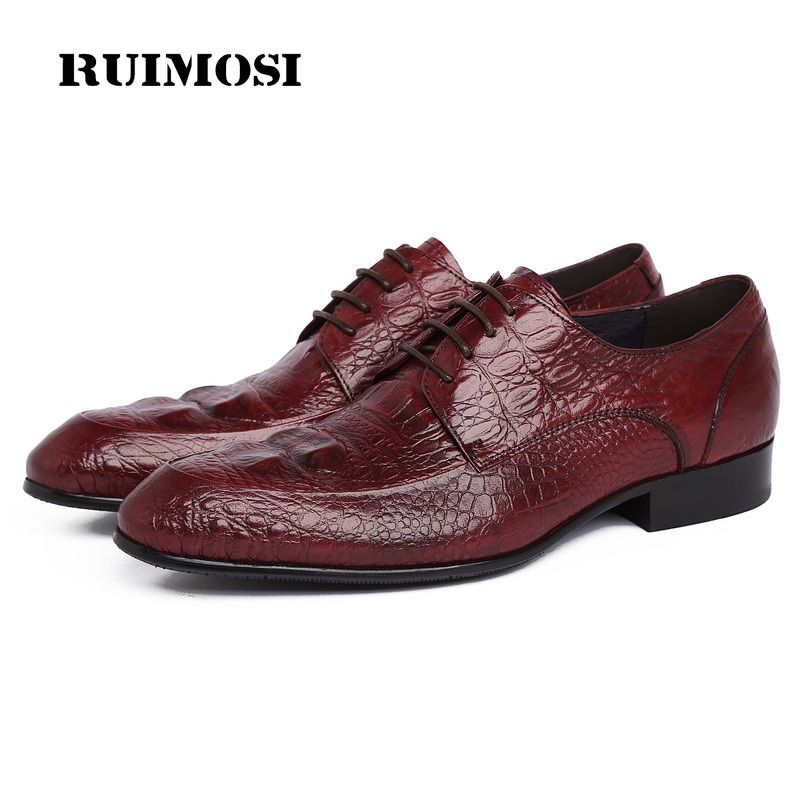 RUIMOSI Formal Man Crocodile Dress Shoes Genuine Leather Wedding Oxfords Luxury Round Toe Derby Handmade Men's Footwear WD96