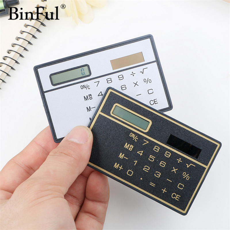 BinFul Calculator Ultra Thin Mini Credit Card Sized 8-Digit Portable Solar Powered Pocket Calculato