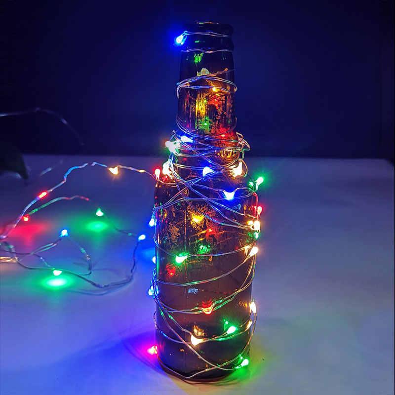 USB LED String Light 5 เมตร 10 เมตร 3AA แบตเตอรี่ Corker ดำเนินการ Garland คริสต์มาสกลางแจ้งในร่ม fairy Light ตกแต่ง LED String