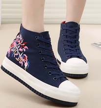 Free shipping Universal summer Floral canvas shoes women casual shoes increased within high-top shoes