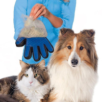True Touch Pet Cleaning Massage Glove Dhedding Hair Efficient Dogs Bath Brush Gentle Pet Grooming Comb