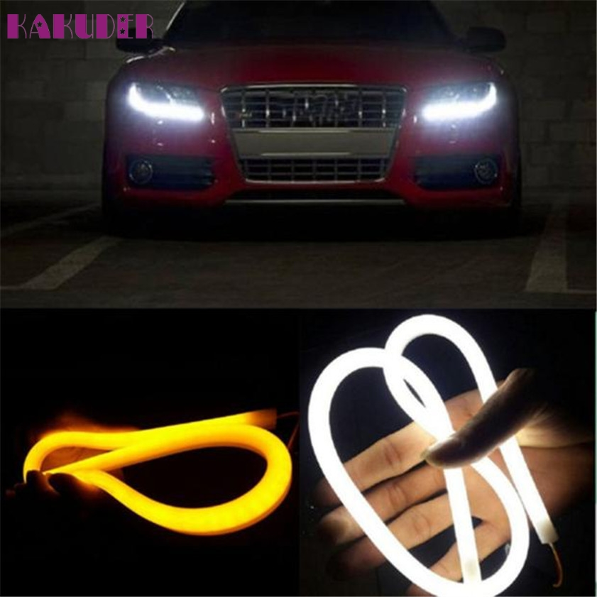 High Quality 2X 60CM Flexible Tube Guide Car LED Strip White DRL Amber Turn Signal Light DIY цена