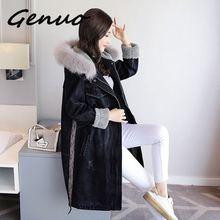 3XL 冬のデニムジャケット女性のフード付き厚い子羊ウールロングジャケット女性のコートの韓国スタイルプラスサイズ ファッション綿コート