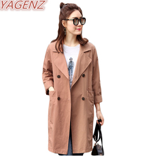 YAGENZ 2017 Spring Autumn New Casual Trench coat Female Loose Windbreaker Women British Style Outerwear Double breasted Overcoat