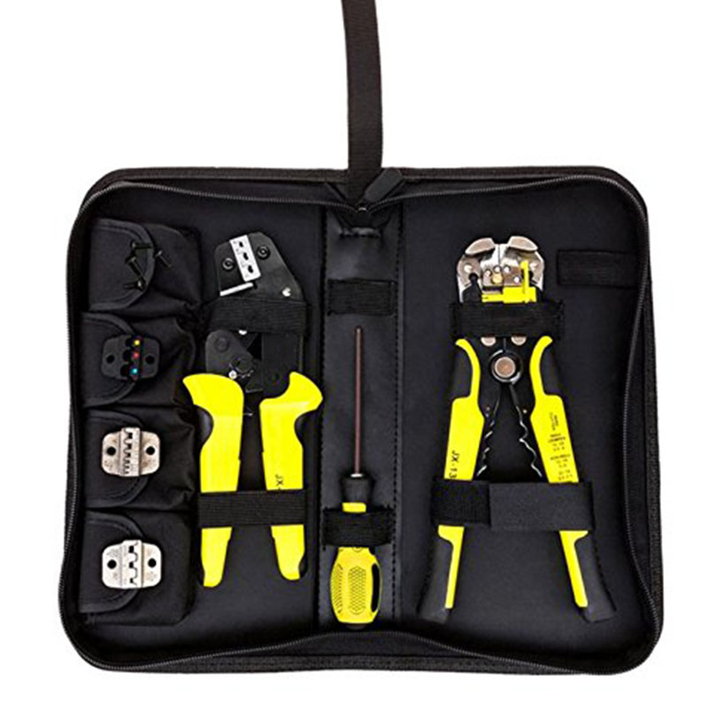 4 In 1 Wire Crimper Tools Kit Engineering Ratcheting Terminal Crimping Plier Wire Crimper/Wire Stripper/S2 Screwdiver P25 T0.2 pneumatic crimping tools plier with 15 sets of dies