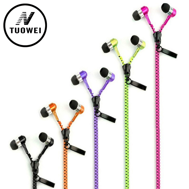 Zipper Outdoor Earphone In-Ear Metal Bass Sports Music Wired Earbud Headset With Microphone For phone Samsung XIAOMI LENOVO SONY