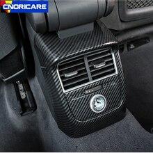 Сзади автомобиля кондиционер Выход рамка украшения 2 шт. углеродного волокна Цвет для Audi A3 8 V 2014-18 АБС-kick покрытия отличительные знаки
