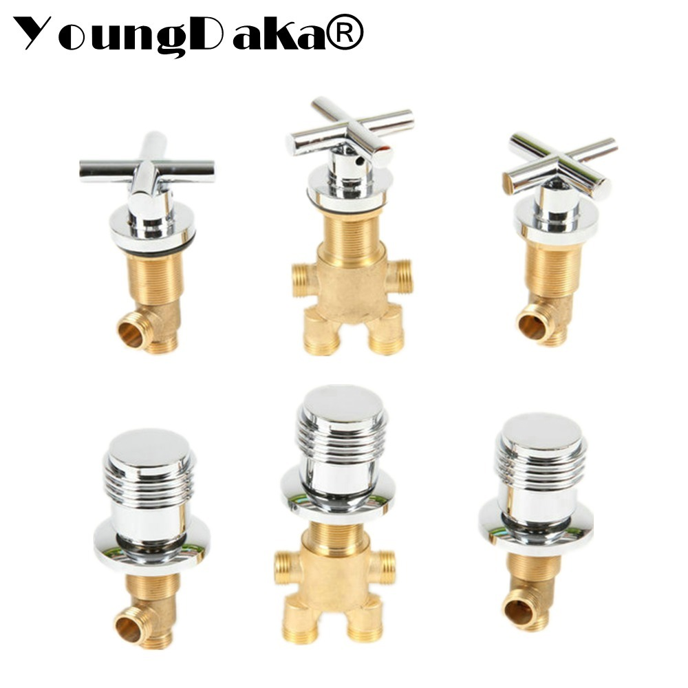 YoungDaka Brass Chrome Bathtub Hot and Cold Water Control Valve Faucet Bath Shower Mixer Bathtub 3 Piece Set Switch Valve