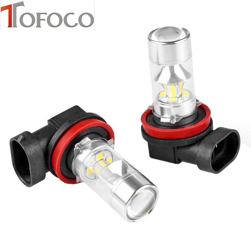 TOFOCO 2PCS 60W 2838 SMD Super Bright White H8 LED Car Fog Running White Light Bulb Lamp Auto Headlight qvvcev 2pcs new car led fog lamps 60w 9005 hb3 auto foglight drl headlight daytime running light lamp bulb pure white dc12v