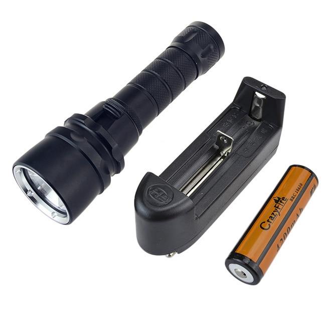 New 2000 Lumen Underwater Flashlight 1x XM-L Cree T6 LED Diving Flashlight Diver Torch Light 18650 Lanterna with Charger kinfire s1 600lm led diving flashlight torch w cree xm l t6 black 1 x 18650