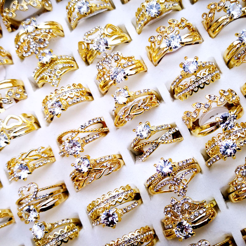 10Pcs Women's Rings New Design Mixed Styles Gold and SilverZircon Wholesale Rings Lots Female Jewelry Bulks Lot LR4161 2